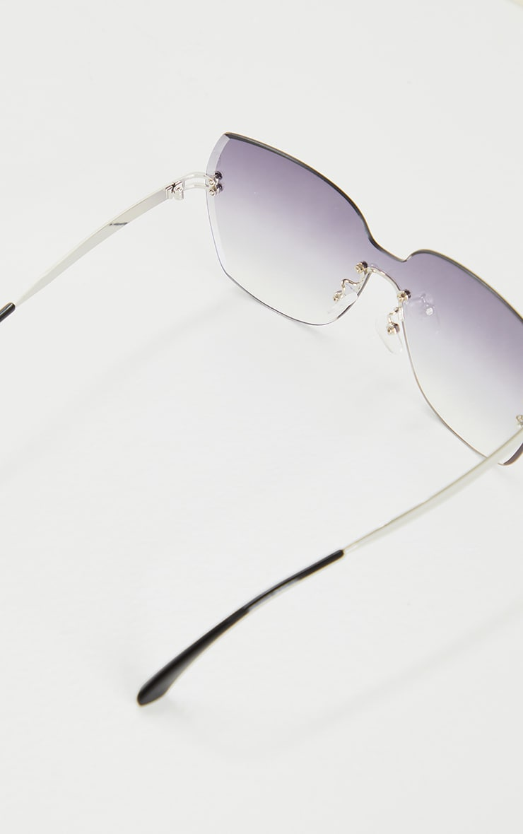 Grey Fade Oversized Pointed Square Sunglasses 3
