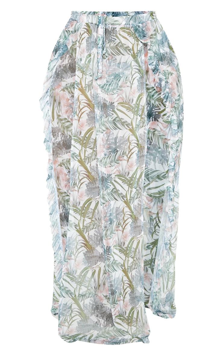 Plus Pale Khaki Leafy Frill Split Maxi Skirt  3