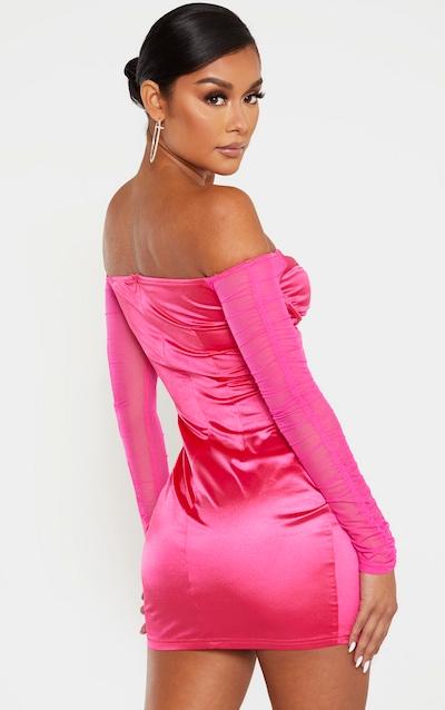 Hot Pink Satin V Bar Mesh Sleeve Bodycon Dress