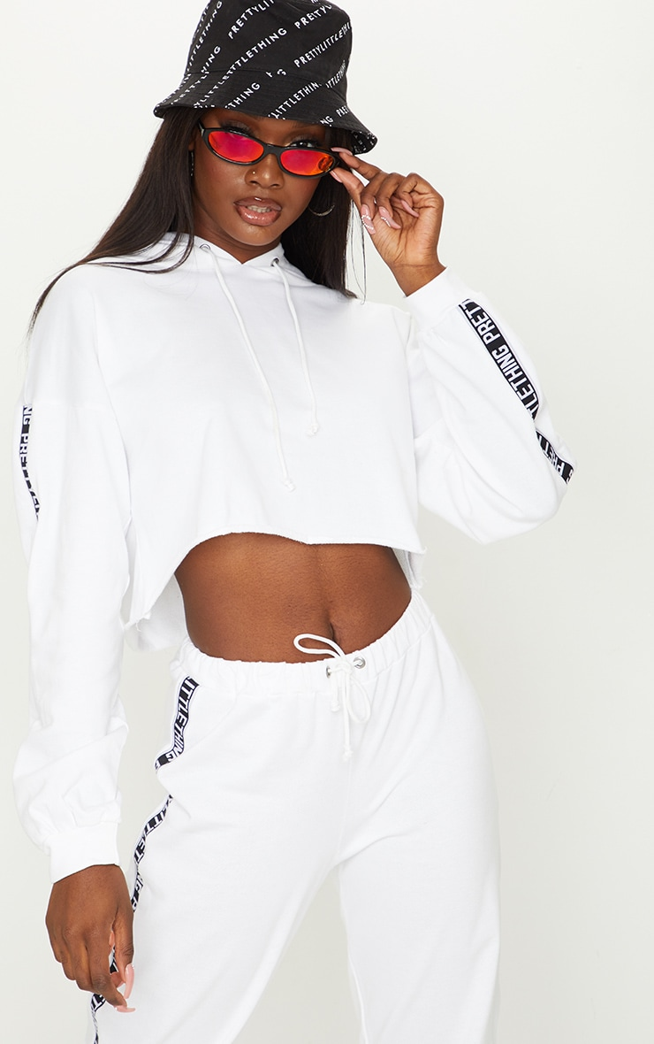 PRETTYLITTLETHING Tall White Cropped Hoodie 1