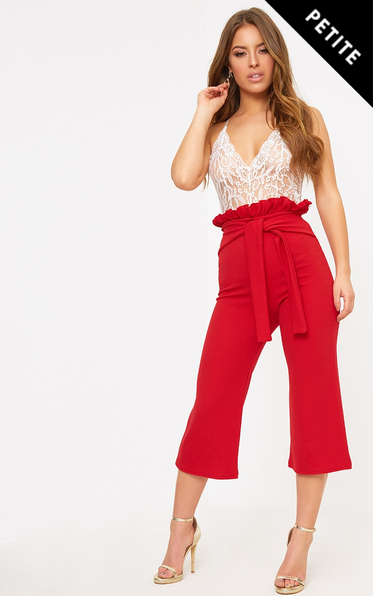 Petite Red Paperbag Waist Culottes  1