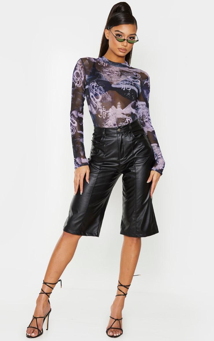 Purple Printed Mesh High Neck Bodysuit 3