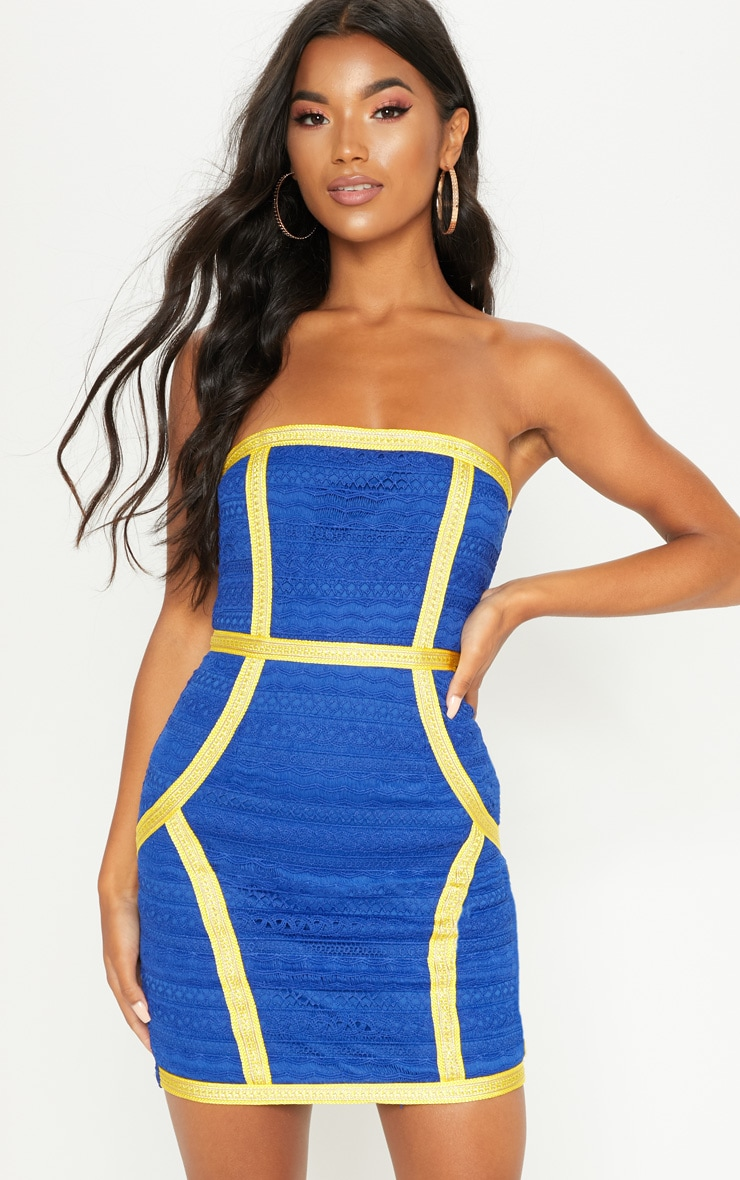 Cobalt Bandeau Lace Trim Detail Bodycon Dress 1
