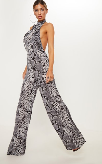 fb47bd26958 Grey Snake Print Halterneck Frill Back Jumpsuit. More colours available