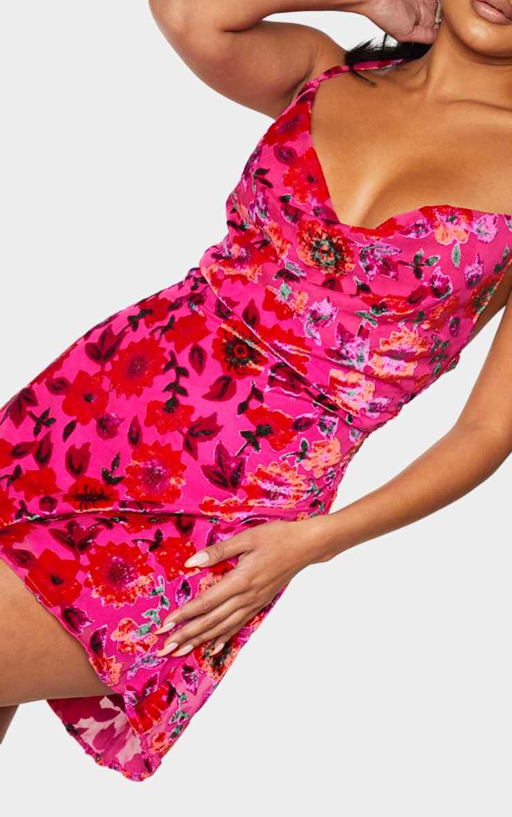 Pink Floral Strappy Flocked Detail Shift Dress 4