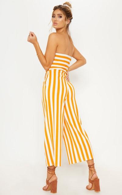 Mustard Contrast Stripe Bandeau Culotte Jumpsuit