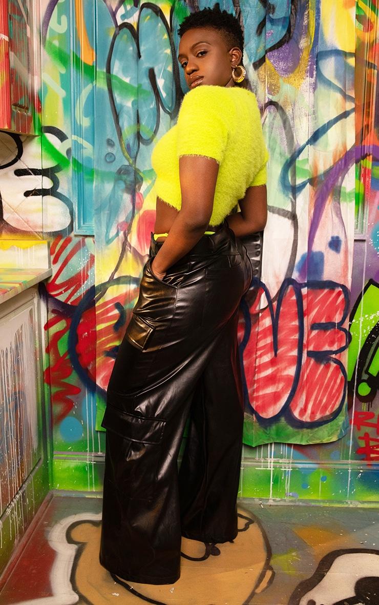 Black PU Pocket Detail Wide Leg Pants 5