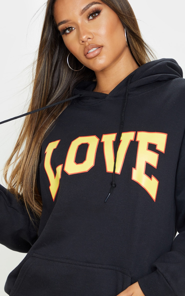 Black Love Hate Slogan Oversized Hoodie 5