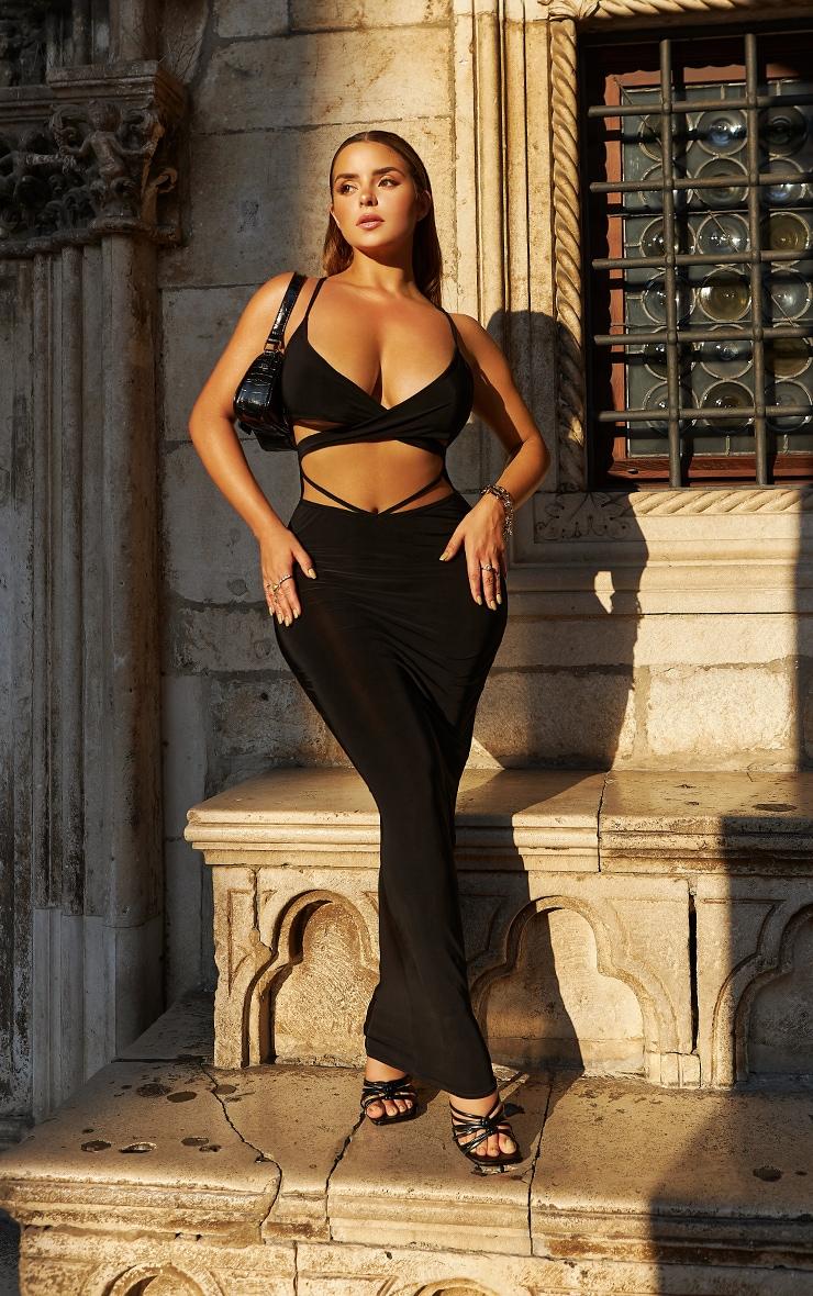 Shape Black Slinky Wrap Over Detail Midaxi Dress