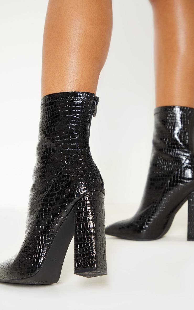 Black Croc Block Heel Point Boot 2