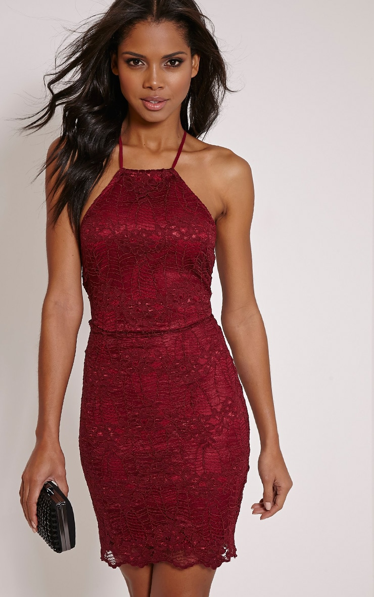 Kayah Burgundy Lace Halterneck Mini Dress 1