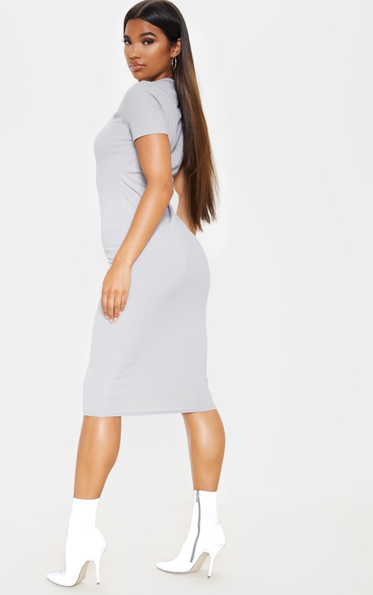 Grey Ribbed Crew Neck Midi Dress 2