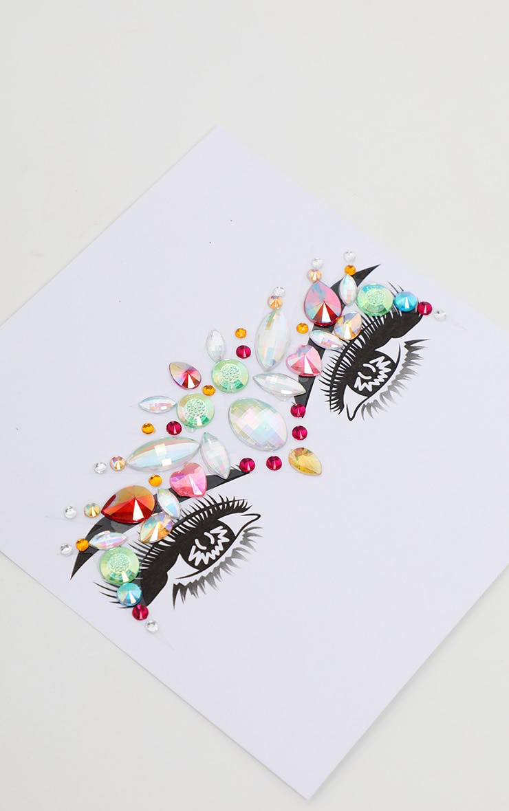 PRETTYLITTLETHING Multi Chunky Rainbow Festival Face Jewels 2