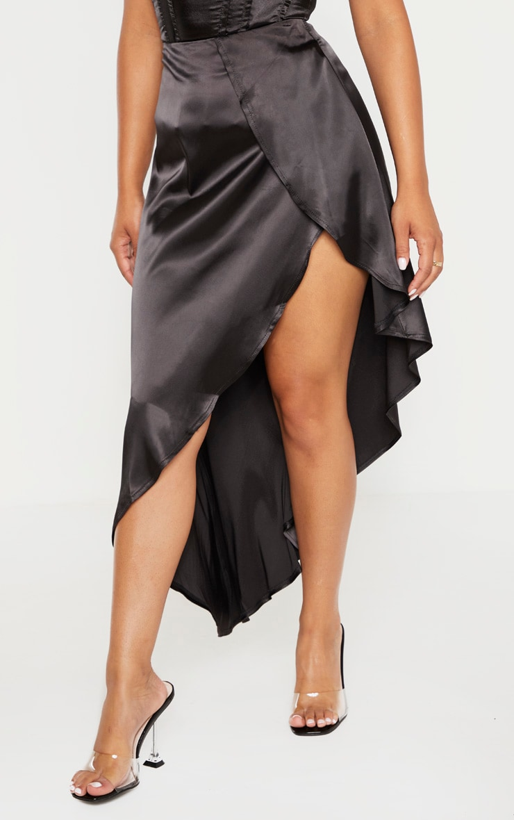 Petite Black Satin Asymmetric Skirt 2