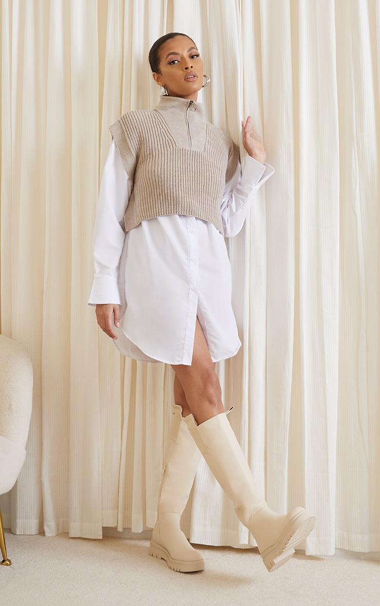 Stone Zip Up Knitted Sleeveless Vest 3