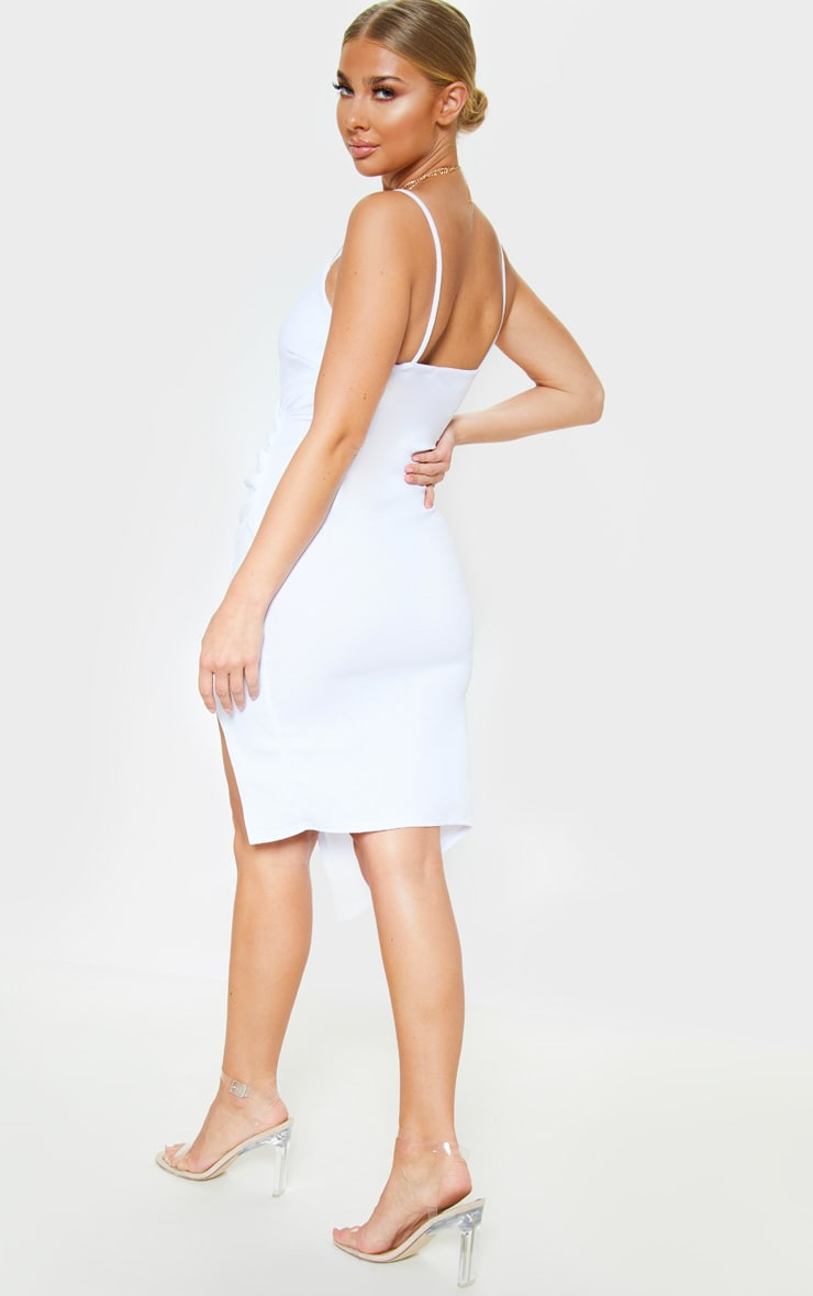 Lauriell White Wrap Front Crepe Midi Dress 2