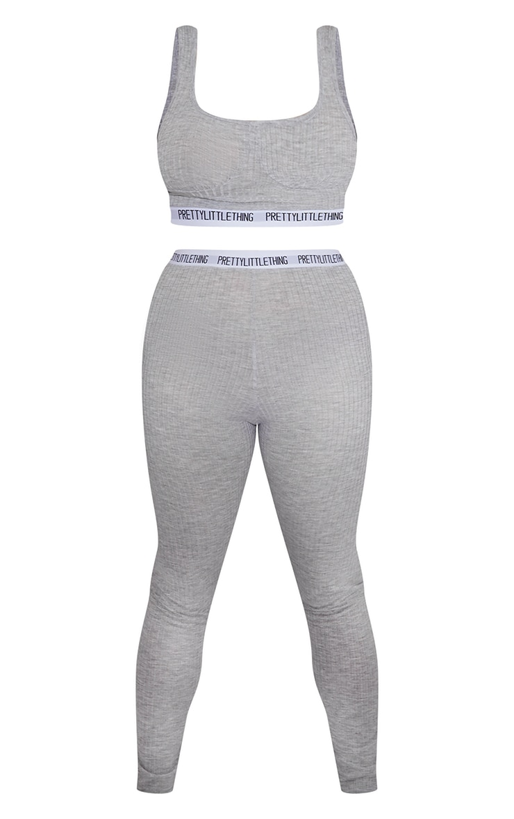 PRETTYLITTLETHING X CoppaFeel! Grey Taping Crop Top and Leggings Set 5