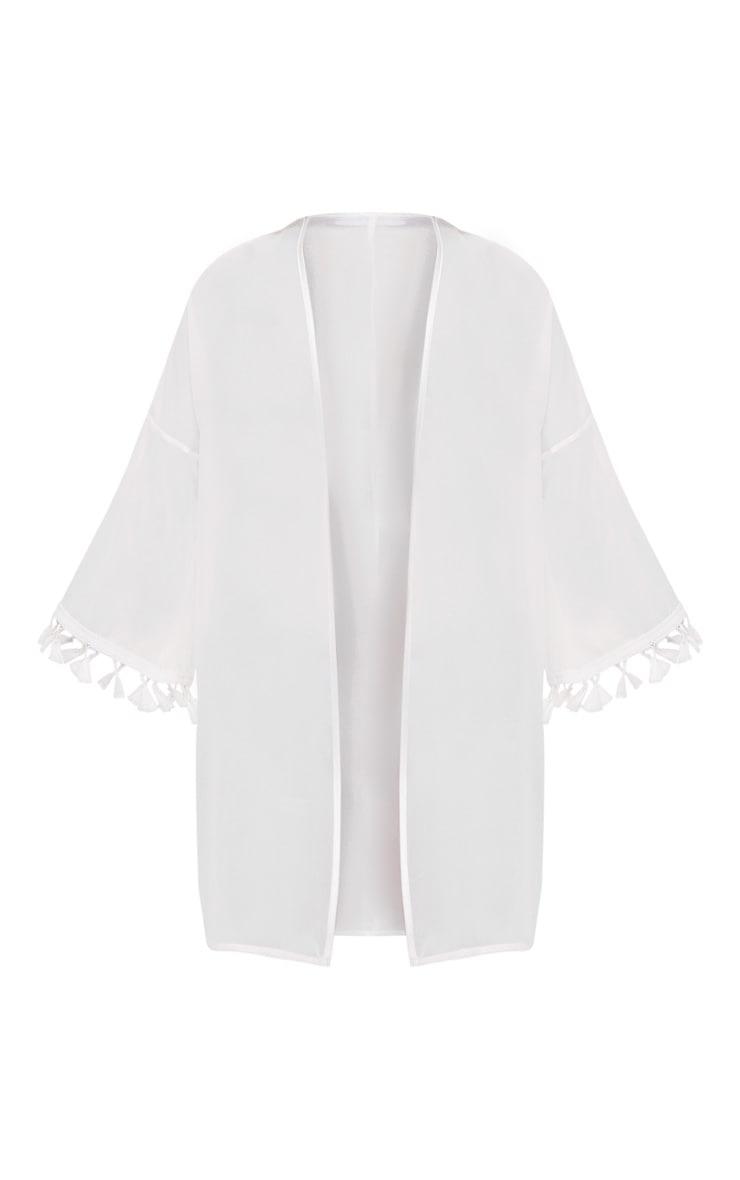 White Chiffon Tassel Edged Short Kimono 3