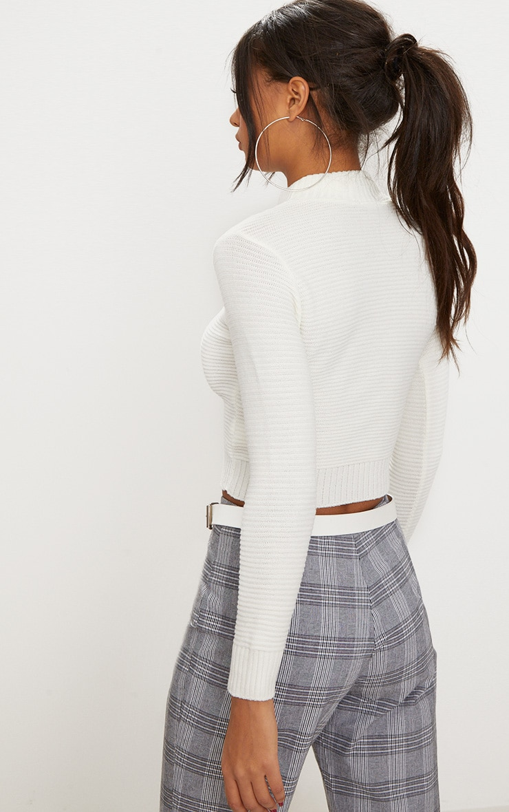 Cream Ribbed Cropped Knitted Sweater  2