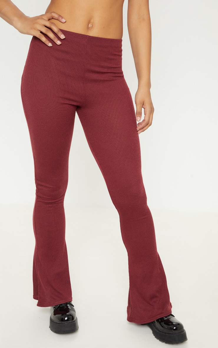 Tall Burgundy Ribbed Flared Trouser  2