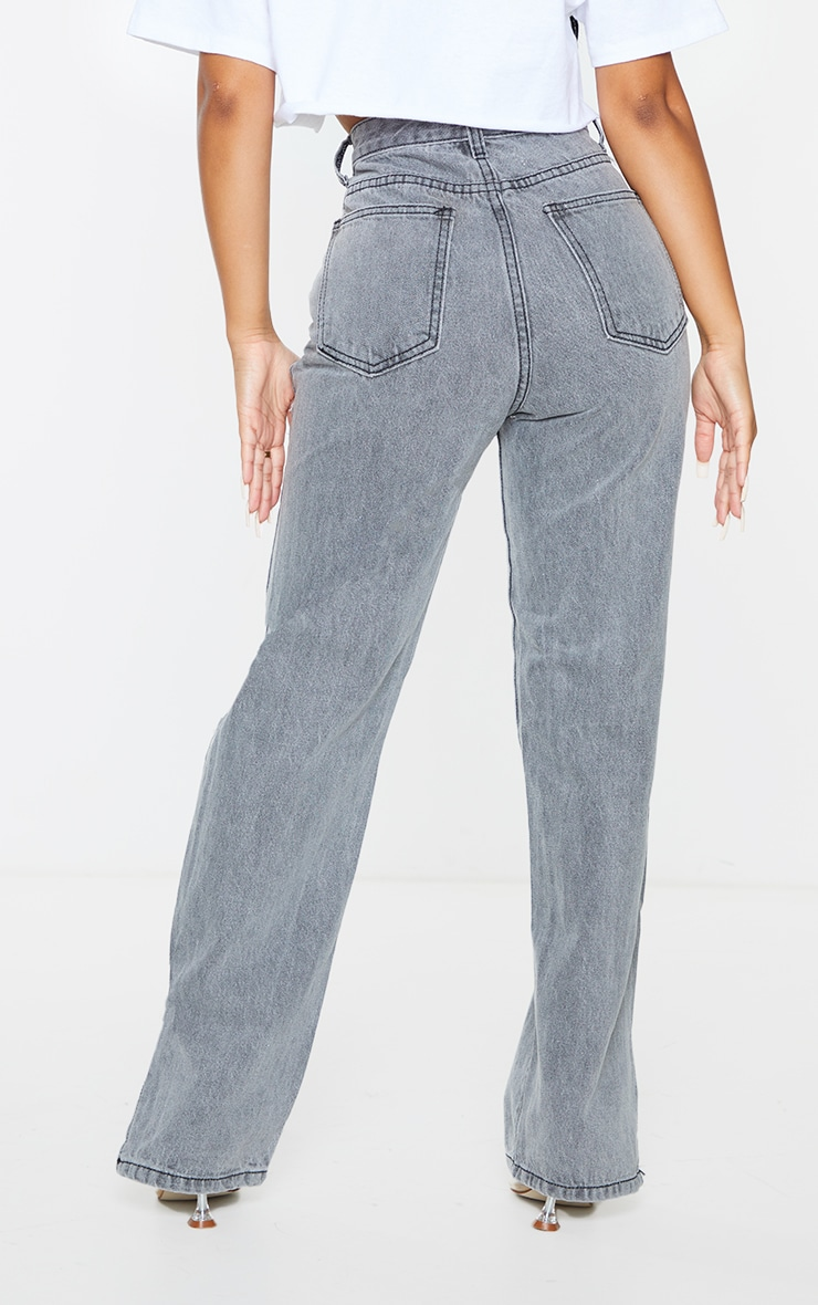 Petite Grey Ripped Split Hem Jeans 3