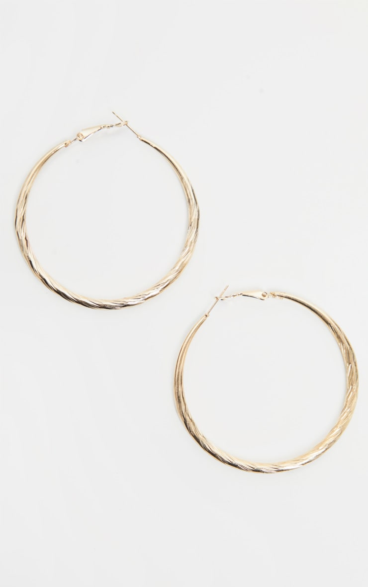 Gold Rope Texture Hoops 2