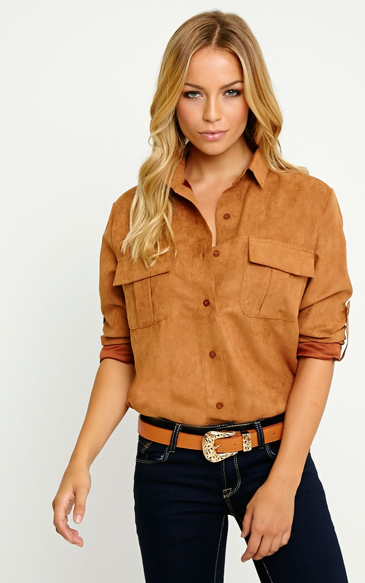 Blithe Camel Faux Suede Oversized Shirt 1