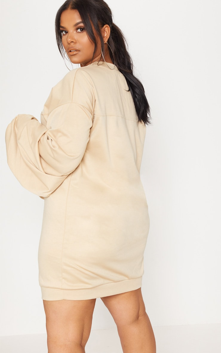 Plus Stone Ruched Sleeve Sweat Dress 2