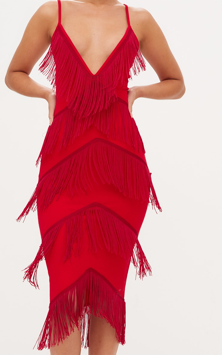 Red Strappy Tassel Longline Midi Dress 4