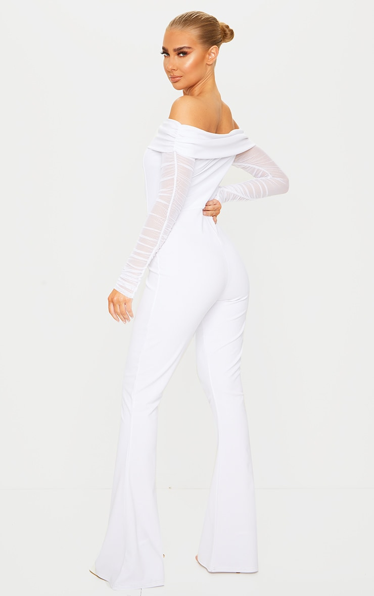 White Bardot Mesh Sleeve Flare Leg Jumpsuit 2