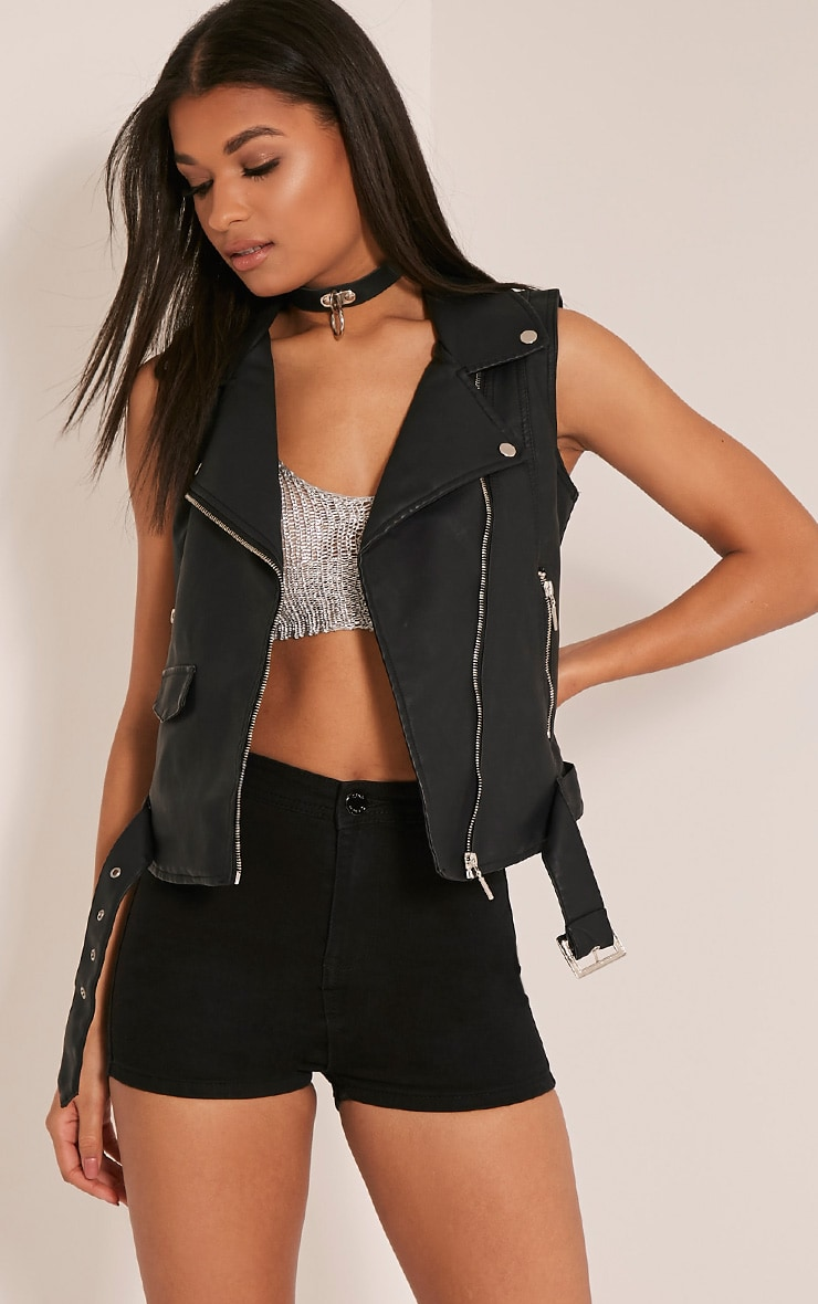 Lucie Black PU Sleeveless Biker Jacket 1