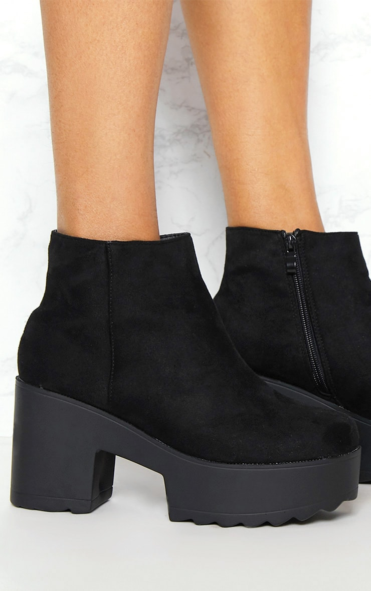 Black Chunky Platform Ankle Boot 5