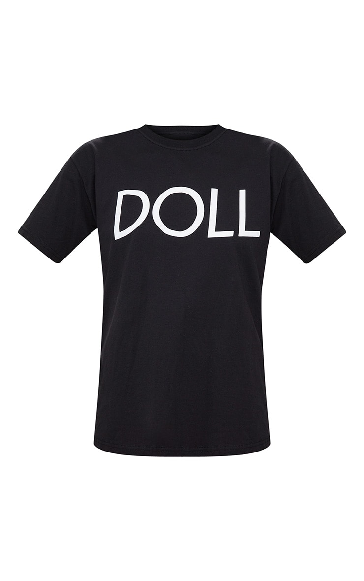 Black Doll Slogan Oversized T Shirt 3
