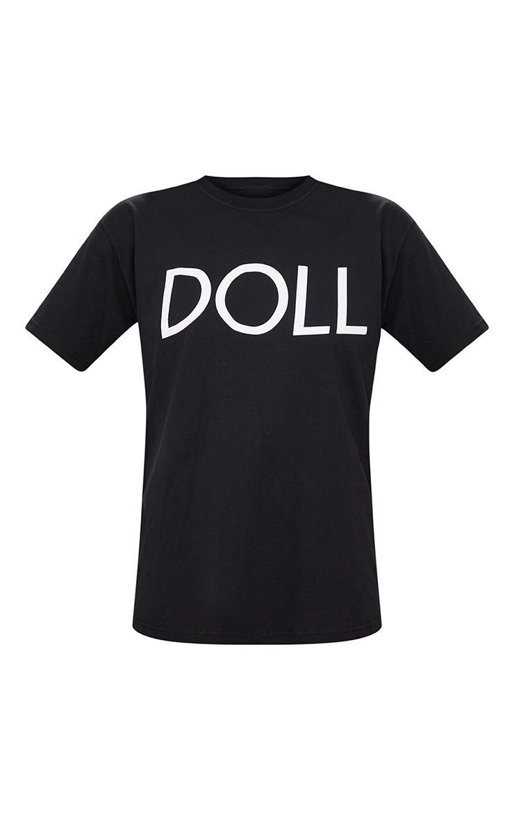 T-shirt surdimensionné noir slogan Doll 3