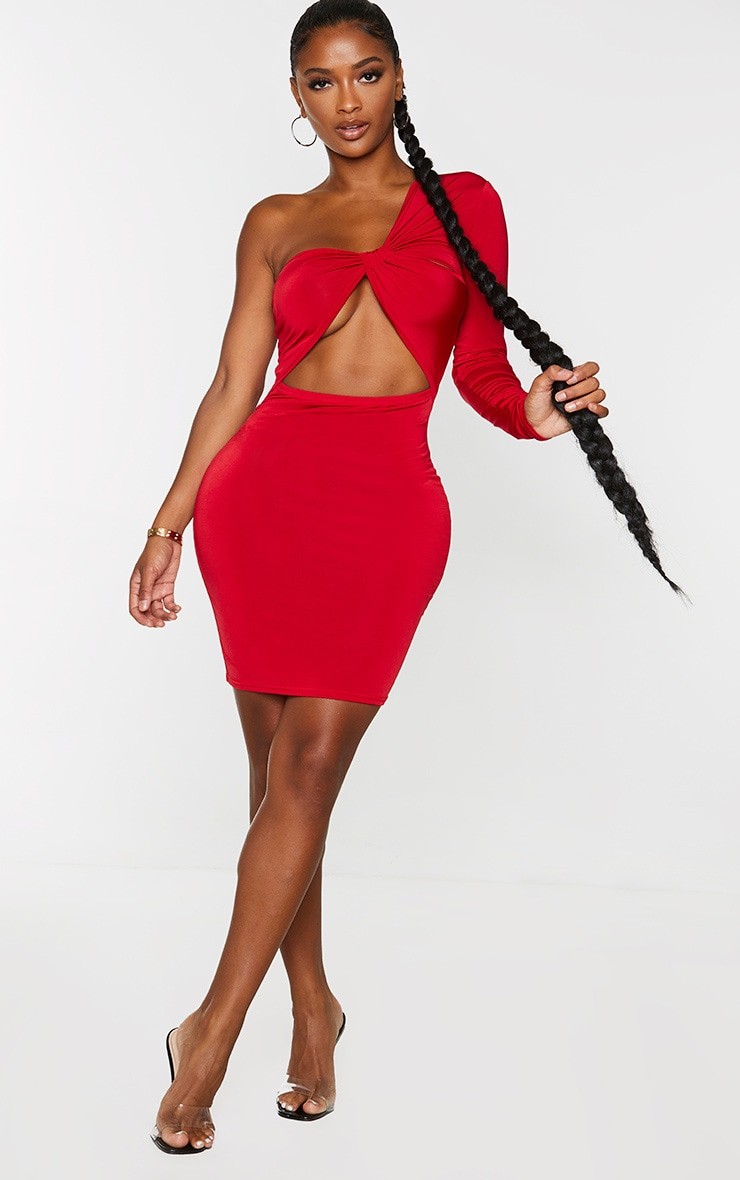 Shape Red One Shoulder Cut Out Bodycon Dress 1