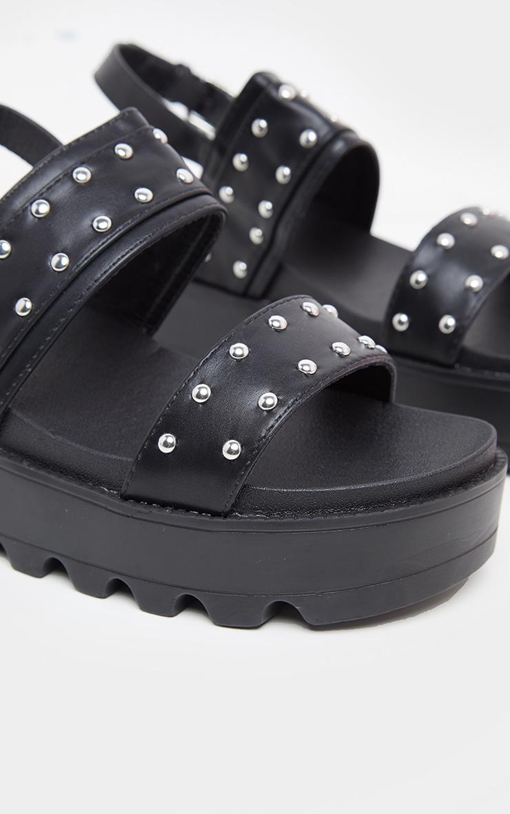 Black Studded Twin Strap Chunky Flatform Sandal 4