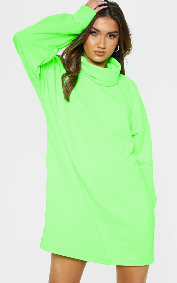 Lime Neon Oversized Sweat Roll Neck Jumper Dress 4