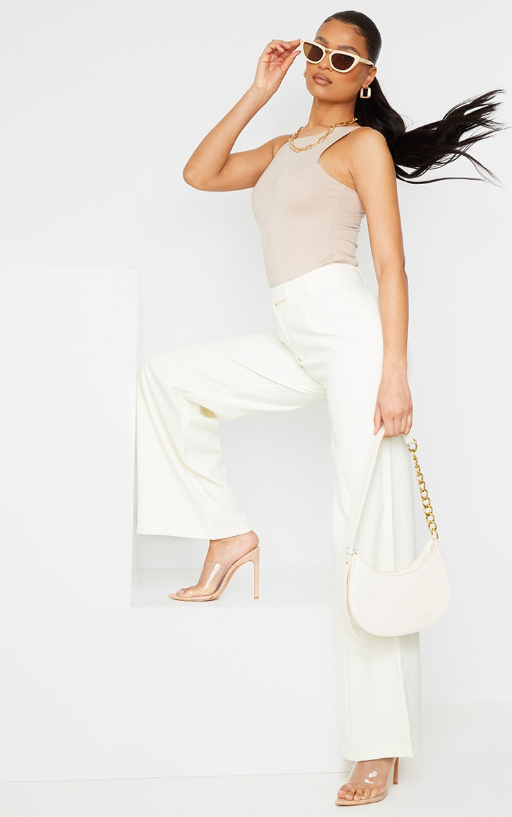 Cream Woven Tailored Wide Leg Trousers 1