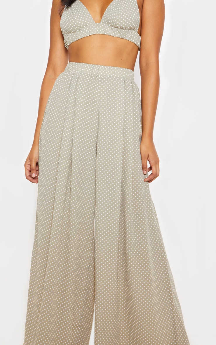 Sage Green Polka Dot Print Wide Leg Trouser 4
