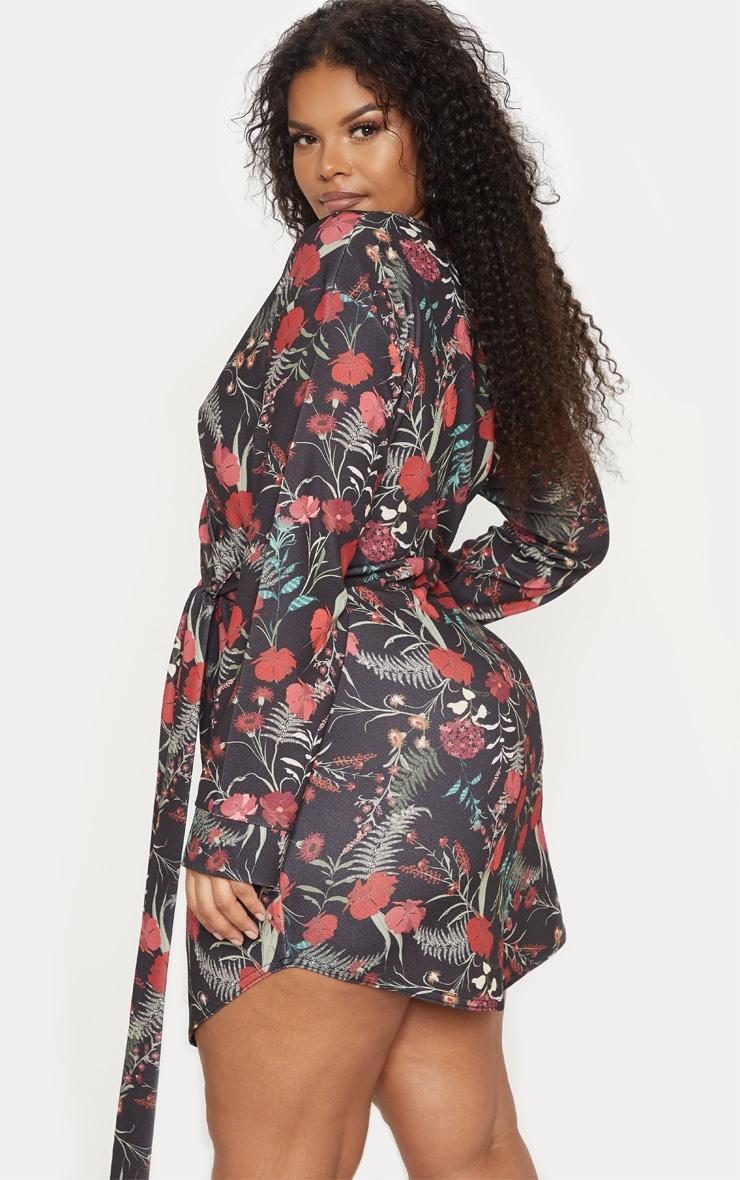 Plus Black Floral Print Wrap Detail Shift Dress 2