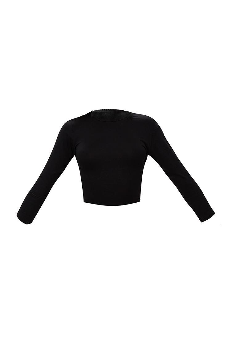Basic Black Split Back Longsleeve Top  3