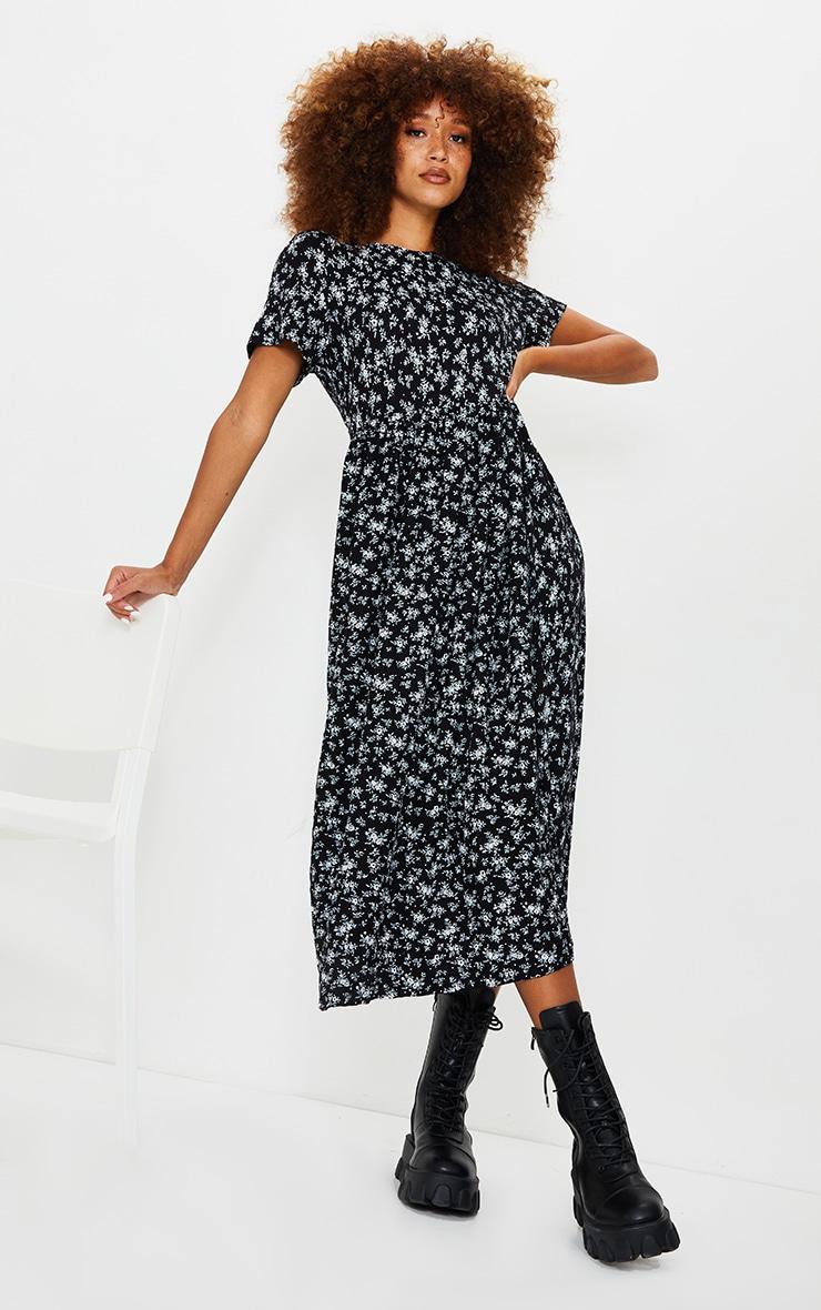 Black Ditsy Print Short Sleeve Midi Smock Dress 1