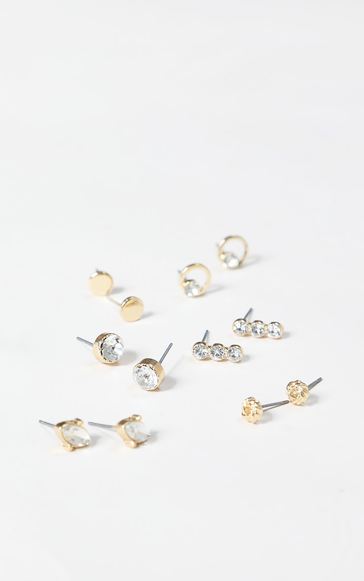 Gold Mini Stud Earring Multi Pack 1