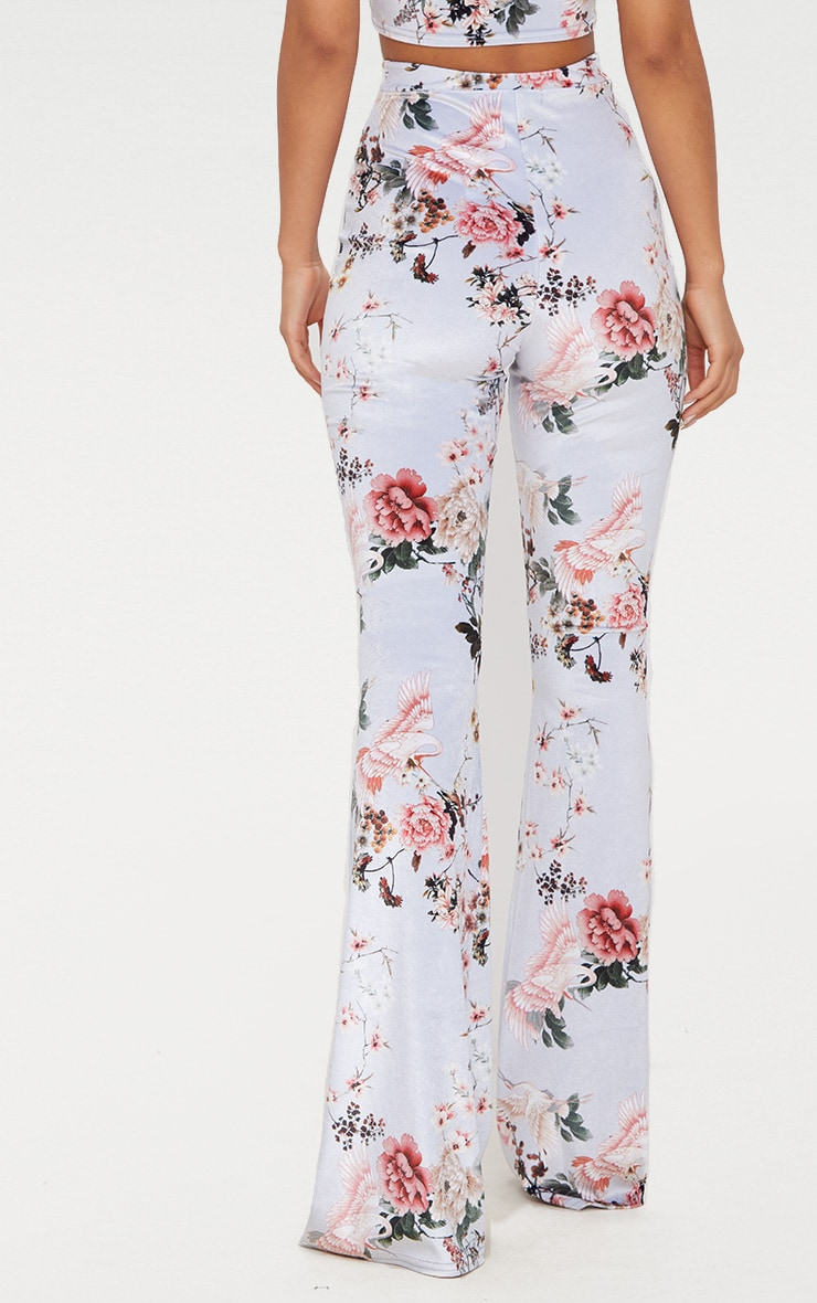 Grey Floral Velvet Flared Pants 4