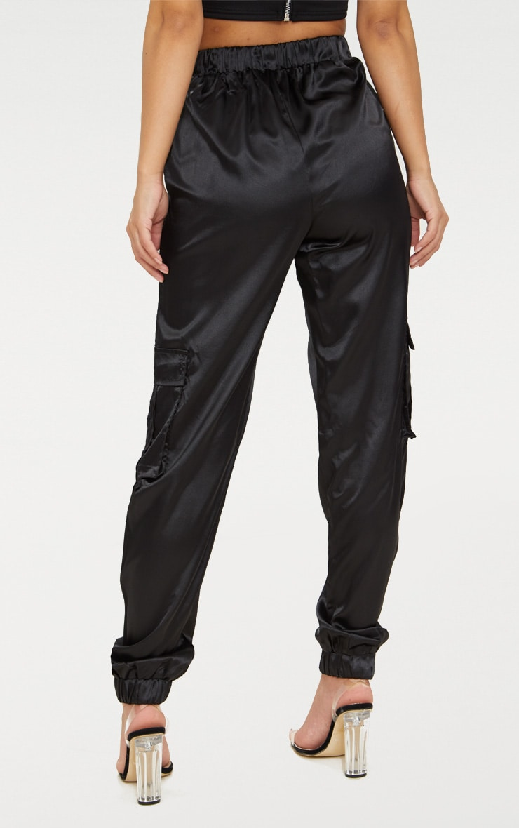 Petite Black Satin Cargo Pants 4