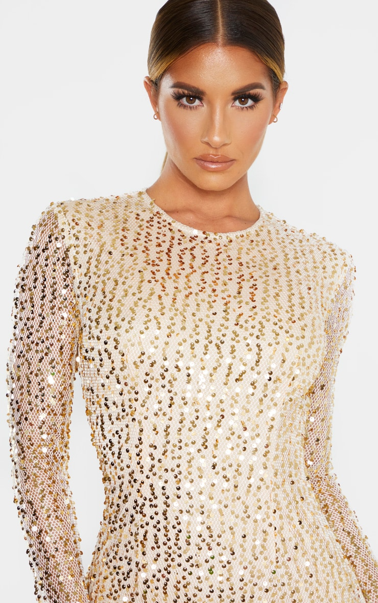 Gold Sequin Long Sleeved Bodycon Dress 5
