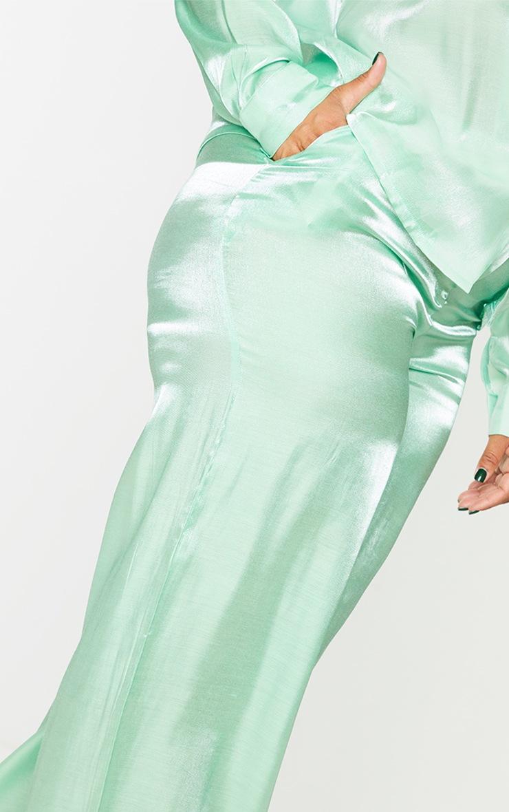 Plus Sage Green Metallic Wide Leg Pants 4