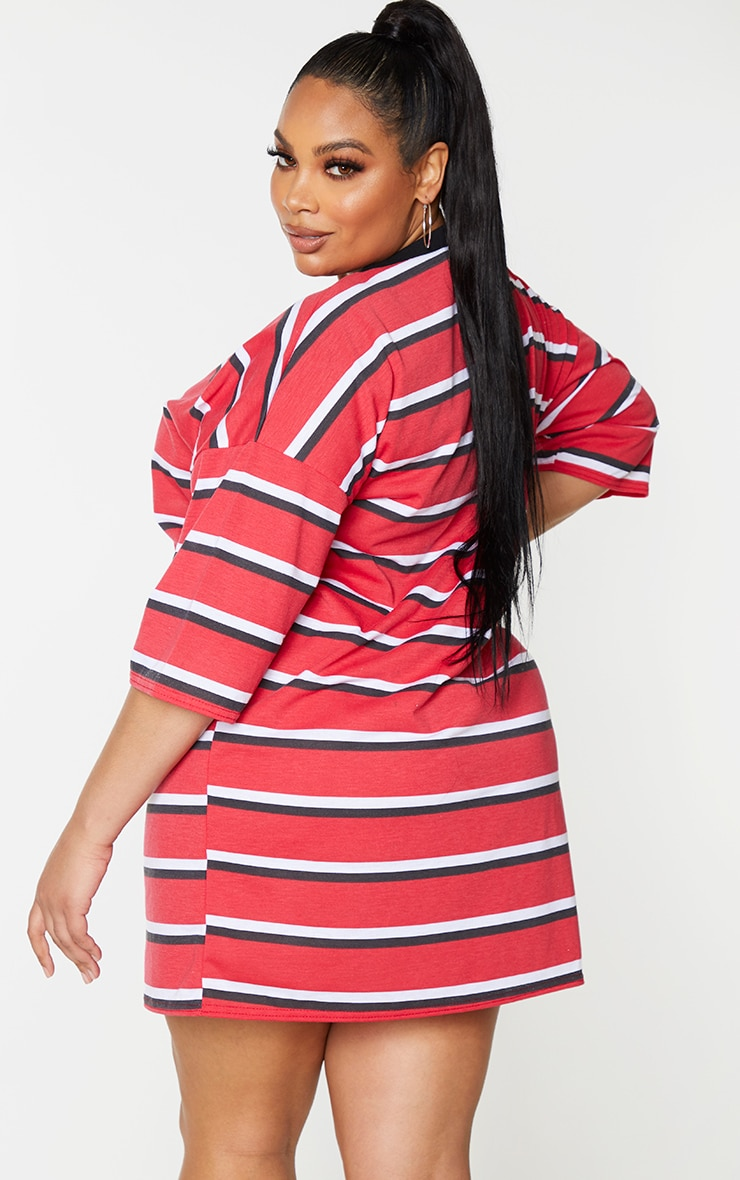 Plus Red Contrast Stripe Oversized Boyfriend T Shirt Dress 2