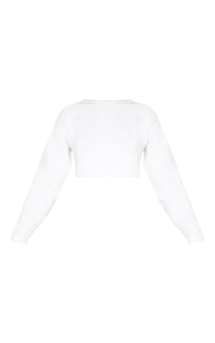 PRETTYLITTLETHING Ivory Raw Hem Crop Sweater 3