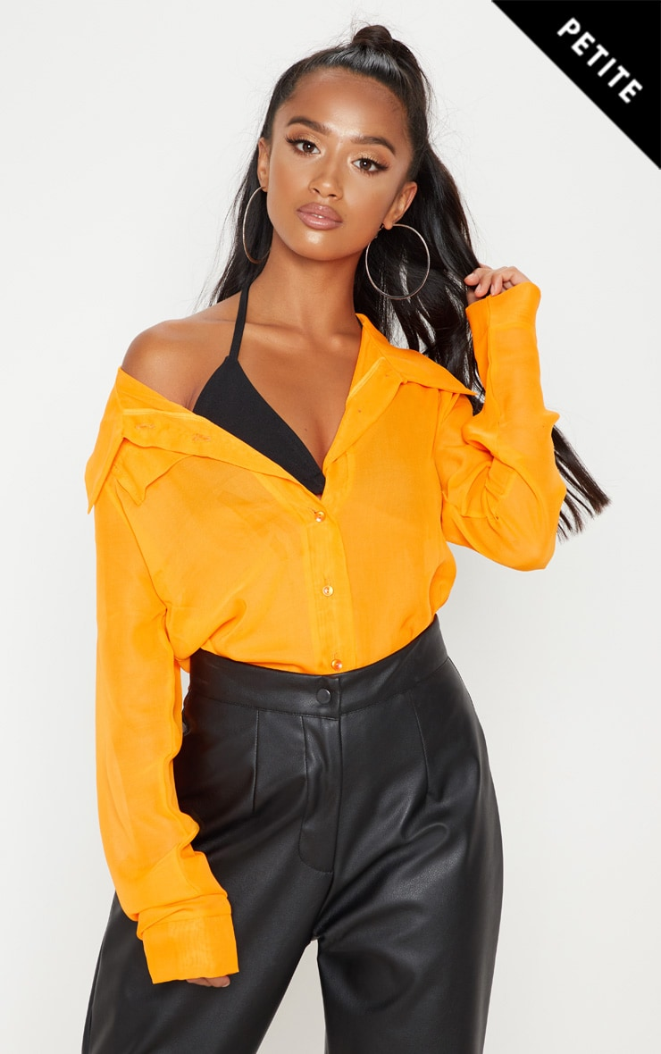 Petite Neon Orange Sheer Oversized Chiffon Shirt